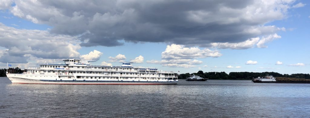 Теплоход Капитан Пушкарев.  Kapitan Pushkarev (captain Pushkarev) cruise ship near Kostroma river.